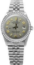 Gray Arabic dial diamond bezel rolex date just jubilee stainless steel watch