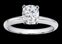 0.75 ct. H VS1 cushion diamond solitaire wedding ring