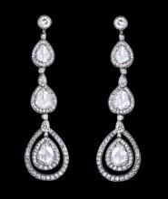 Pear diamonds dangle earring pair 2.50 carat diamond chandelier
