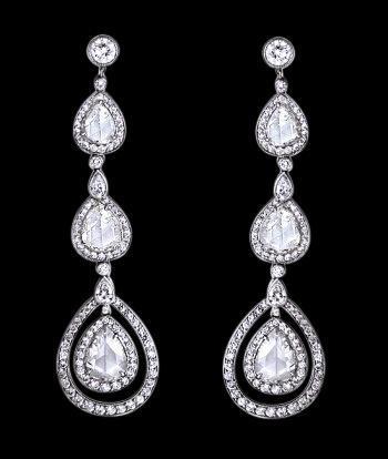 Pear diamonds dangle earring pair 2.50 carat diamond chandelier