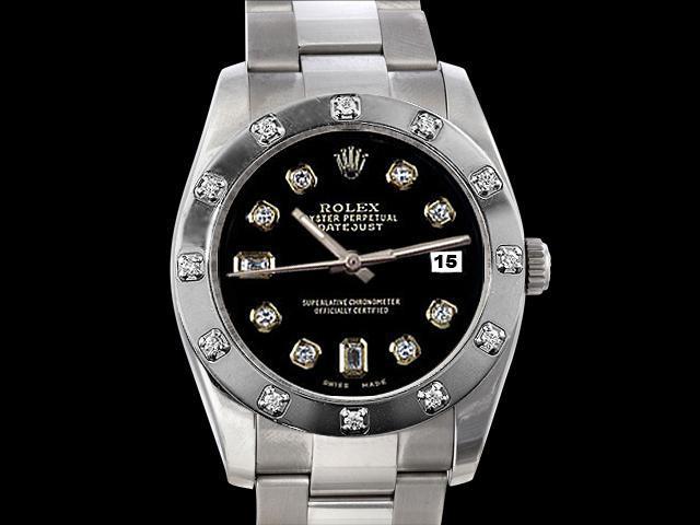 Pearl master Bezel diamond dial rolex datejust watch oyster bracelet