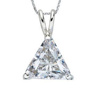 Pendant Necklace 1.50 carats diamond trilliant solitaire pendant necklace