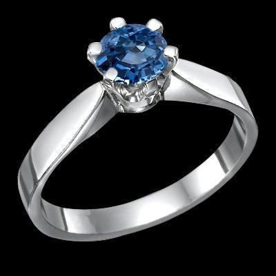 1 CT. Blue diamond solitaire engagement ring gold white