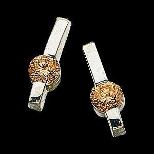 1 ct. brown chocolate diamonds earrings pair gold