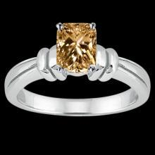 1.25 cts. radiant cognac diamond solitaire ring wedding