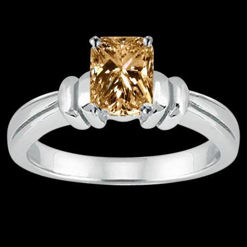 1.25 cts. radiant cognac diamond solitaire ring wedding