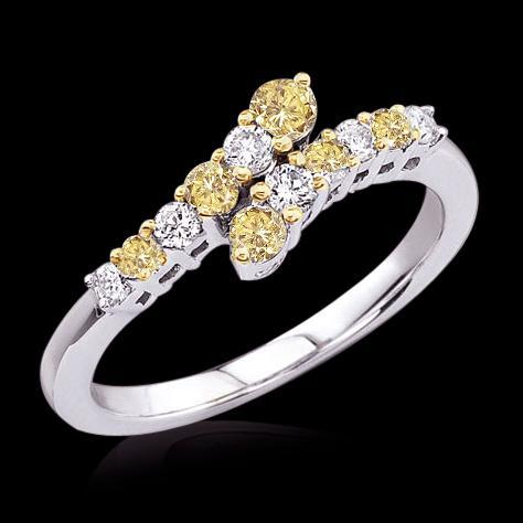 1.25 cts. Yellow canary journey style anniversary ring