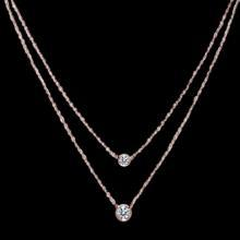 Pink gold Rose gold Double necklace diamonds yard 1.75 carat necklace bezel set