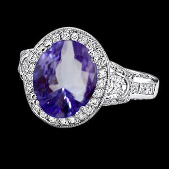 Oval tanzanite 5.33 carat diamonds engagement ring white gold new