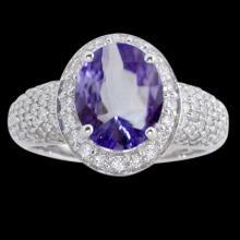 Oval tanzanite & diamonds 7.15 carat ring pave diamonds white gold 18K