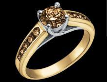 1 carat Brown diamonds yellow gold engagement ring
