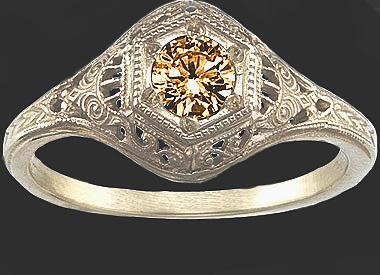 0.85 carat Champagne diamonds ring antique gold ring