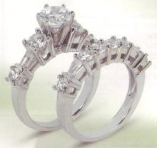 4.11 carats diamond wedding band set engagement ring