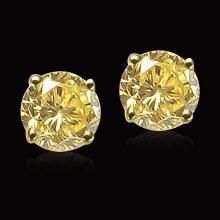 1.51 carats Yellow canary round diamonds stud post earrings
