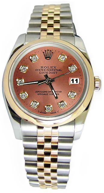 Brown diamond dial rolex datejust watch solid gold & steel date just