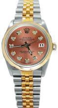 Brown diamond dial rolex datejust watch two tone rolex lady man