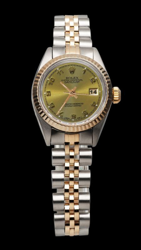 Champagne Arabic dial rolex SS & pink gold jubilee lady watch datejust