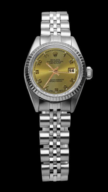Champagne Arabic dial rolex SS jubilee bracelet datejust lady watch