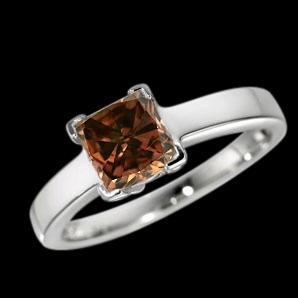 Champagne diamond radiant cut solitaire engagement ring 1.50 carats