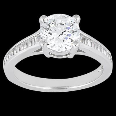 Channel setting baguette diamonds 2.31 carat wedding ring gold white