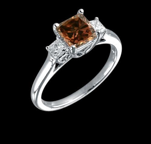 Chocolate & white radiant cut diamonds 1.75 carat ring three stone new