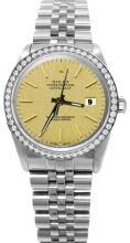 Diamond bezel champagne stick dial rolex date just SS jubilee watch