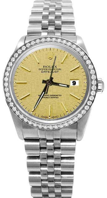 Diamond bezel champagne stick dial rolex date just SS jubilee watch