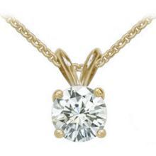 Pendant E VVS1 round diamond 2 carat yellow gold pendant with chain