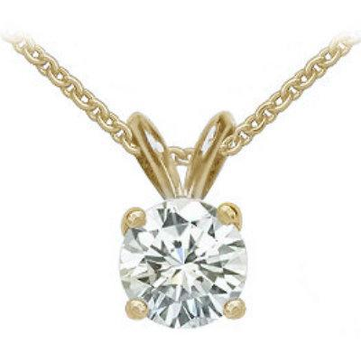 Pendant E VVS1 round diamond 2 carat yellow gold pendant with chain