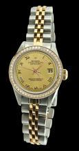 SS & gold champagne roman dial women watch rolex datejust jubilee