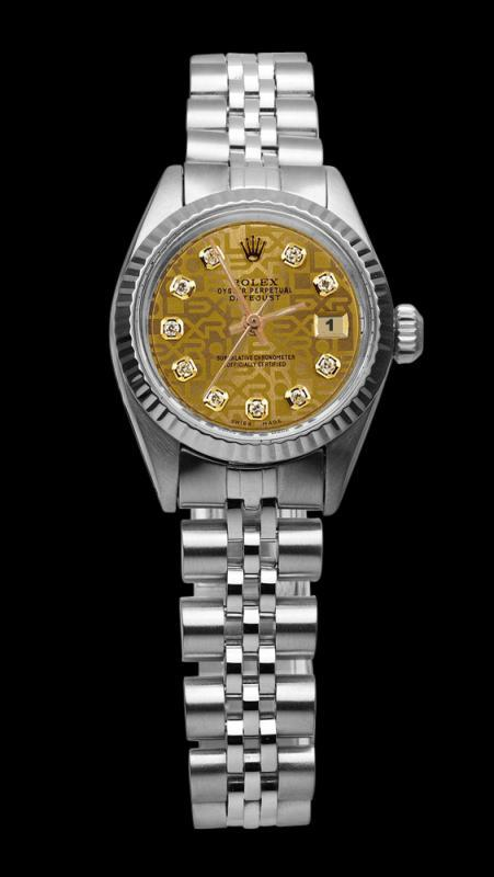 Champagne diamond dial rolex date just SS jubilee bracelet datejust lady watch