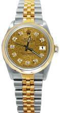 Champagne diamond dial rolex date just watch jubilee bracelet gold & SS