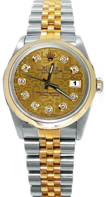 Champagne diamond dial rolex date just watch jubilee bracelet gold & SS