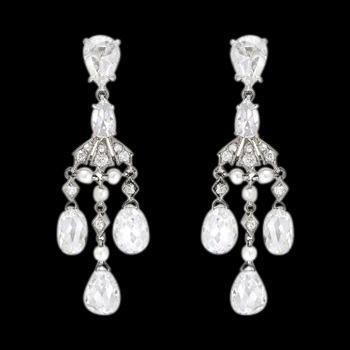 Chandelier diamonds 2.50 carat earring pair white gold ear rings