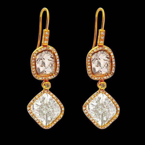 Chandelier diamonds 4 carat earring yellow gold 14K ear ring