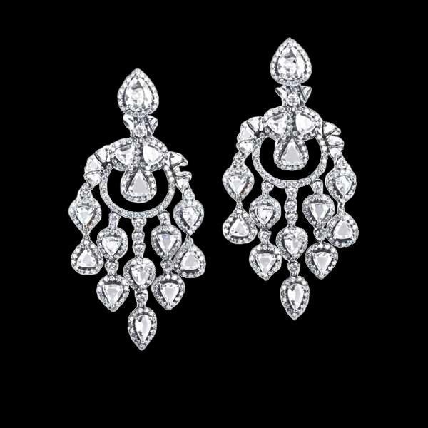 Chandelier diamonds earring hanging white gold 4.50 carat diamond ear ring