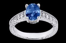 1.75 carats oval cut white blue diamonds ring new gold
