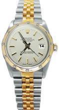 WHITE Rolex datejust watch diamond bezel pearlmaster jubilee bracelet two tone