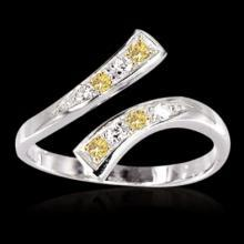 Yellow canary & white diamonds 1 carat ring gold white