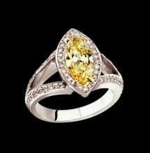 Yellow canary & white diamonds 2.76 ct. ring white gold