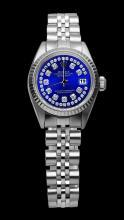 Rolex Blue double row diamond dial SS jubilee bracelet lady datejust watch