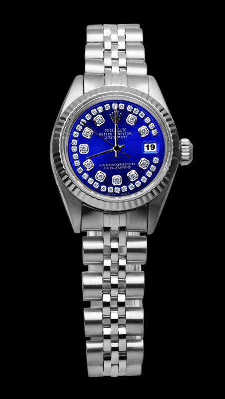 Rolex Blue double row diamond dial SS jubilee bracelet lady datejust watch