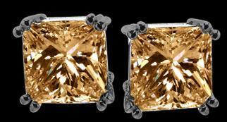 Radiant CUT Champagne diamond stud earrings new