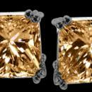 Radiant CUT Champagne diamond stud earrings new