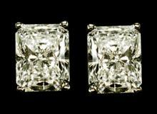 Radiant cut diamond studs 2 ct. earrings white gold
