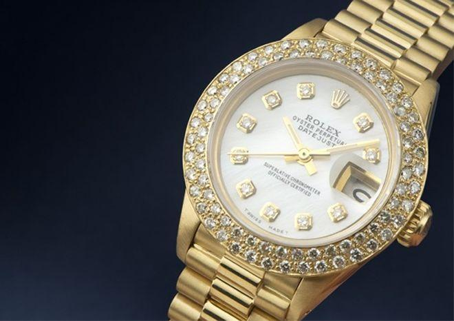 Ladies rolex watch gold MOTHER OF PEARL diamond dial