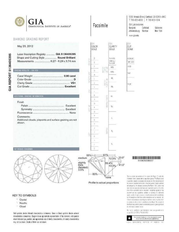 GIA CERTED CERTIFIED DIAMOND D VS1 natural fancy round cut 0.90ct