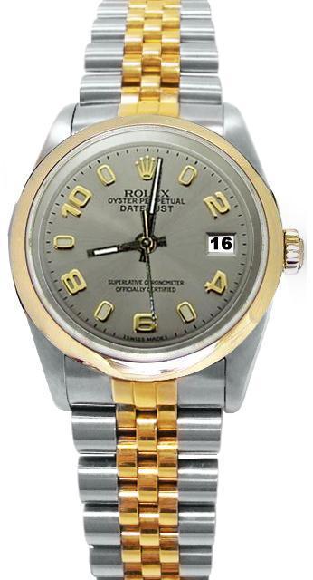 Gray Arabic dial jubilee men's date just watch SS & gold rolex smooth bezel