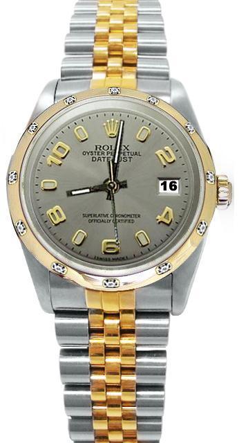 Gray Arabic dial pearl master diamond bezel rolex date just watch