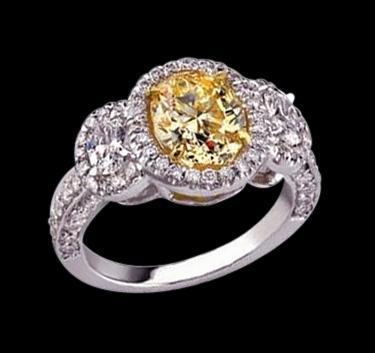 4.5 carat diamonds 3 stone style engagement ring yellow diamond